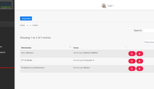 Backend di un portale web, in ambiente PHP, Code Igniter