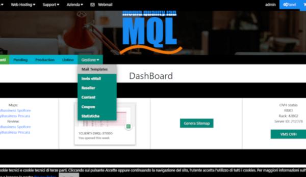 Gestione listini, ordinativi, anagrafica clienti, posta massiva in ambiente PHP